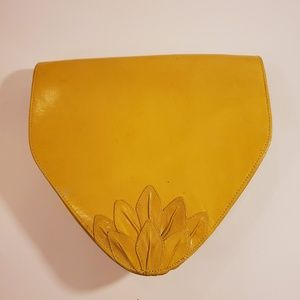 Yellow Flower Clutch Handbag with Shoulder Strap